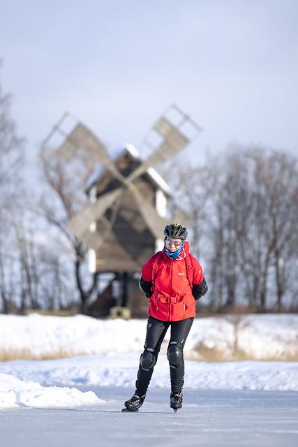 Skater on Lake Kallavesi in Kuopio