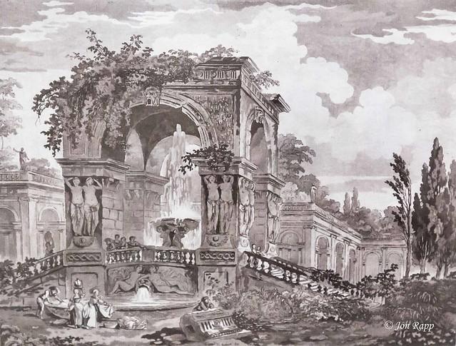 1767 Gardens With A Classical Fountain aquatint and etching by Jean Claude Richard de Saint-Non (MU) (edit)