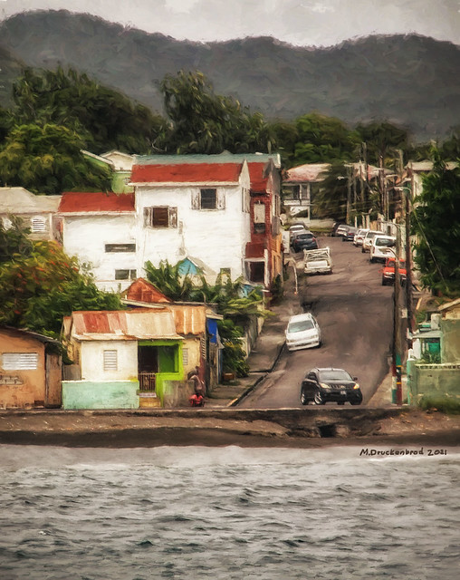 Looking up a Side Street in Basseterre, Saint Kitts