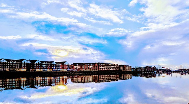 Cloudy scene at Preston Docks