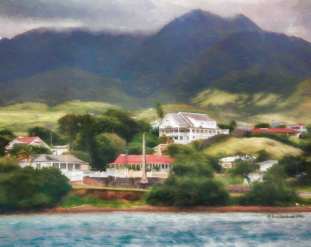 Buildings along the Atlantic Coast near Basseterre, Saint Kitts