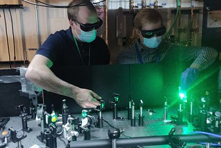 A new, highly versatile class of quantum dots excel as single-photon emitters, with applications in biomedical imaging, quantum communication, cybersecurity, and many other fields. Zachary (Zack) Robinson (left) and Vladimir Sayevich (right) are part of the team that has developed these infrared-emitting quantum dots.