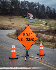 Road Closed Sign with Cones on Rock Riffle Road in Athens Ohio