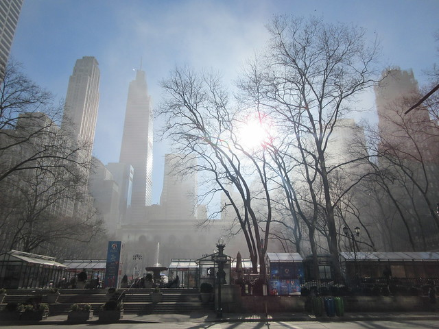 2021 Fountain in Bryant Park with Fog from Burning Building 1501