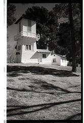 Old ranch water tower Floyd Lamb Park Las Vegas Leica II Elmar 50 Ilford FP4 yellow filter