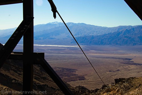 Views of Death Valley and snowy Telescope Peak from the upper terminal of the aerial tramway at Keane Wonder, Death Valley National Park, California