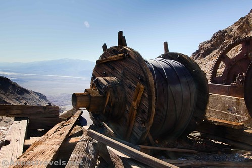 One of the spools of wire cable at the Keane Wonder Mine, Death Valley National Park, California