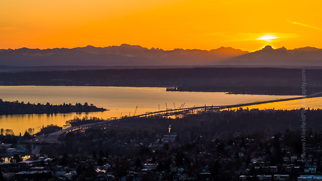 520 Floating Bridge and Lake Washington Sunrise