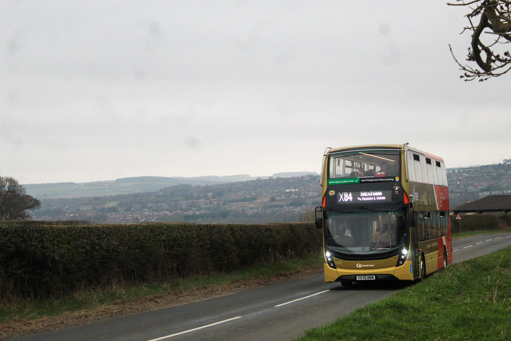 Go North East Xlines X84|X85 ADL Enviro 400 MMC 6352 | YX70 OKM seen Climbing Horsley Road from Ovingham working a diverted X84 to Hexham.