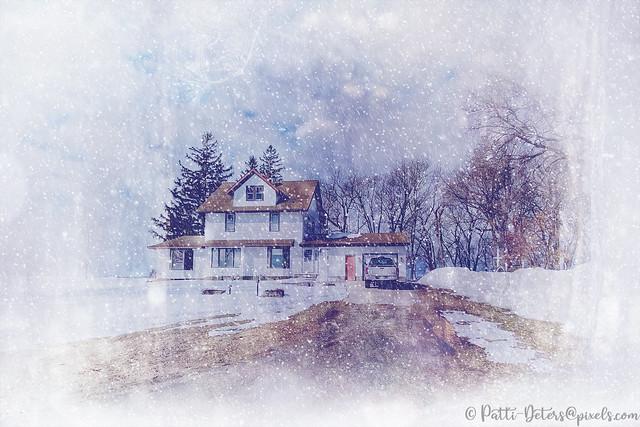 Snowy Old Farm House