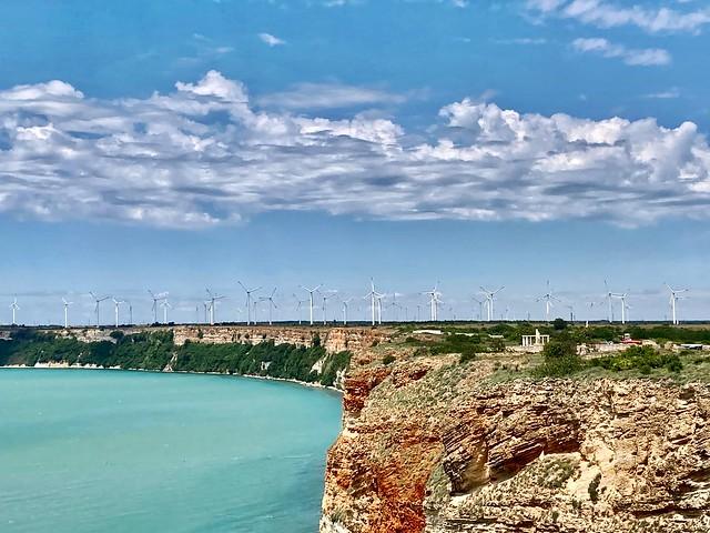 Wind mills. Black sea coast. Summertime