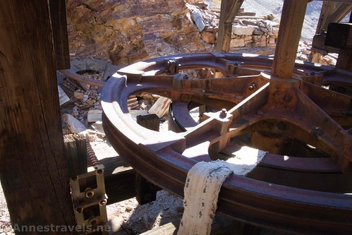 Part of the workings of the aerial tramway at the Keane Wonder Mine, Death Valley National Park, California