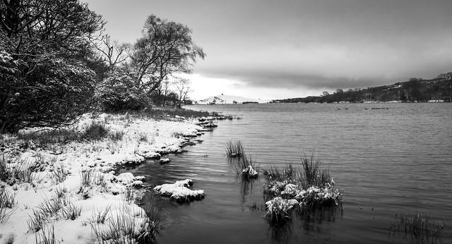 Snow and ripples, Castle Semple Loch, Lochwinnoch, Renfrewshire, Scotland, UK B&W