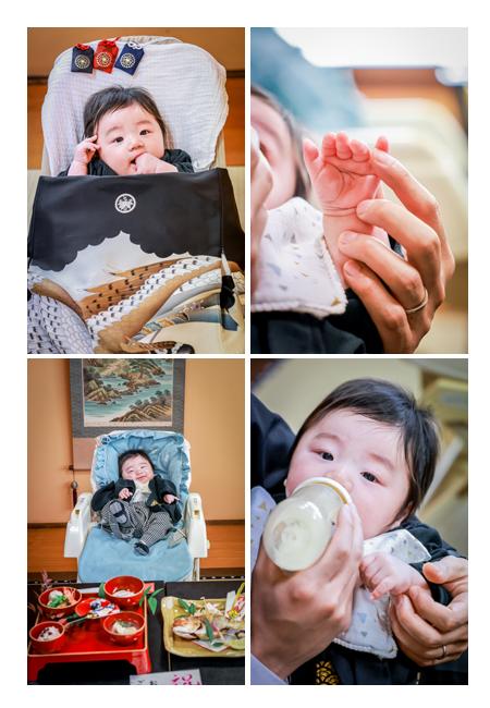 お食い初め エアご飯(笑)の後で、ミルクを飲む赤ちゃん