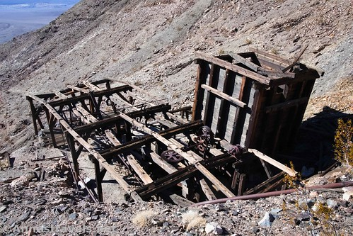 Looking down at the top of the aerial tramway at Keane Wonder Mine, Death Valley National Park, California