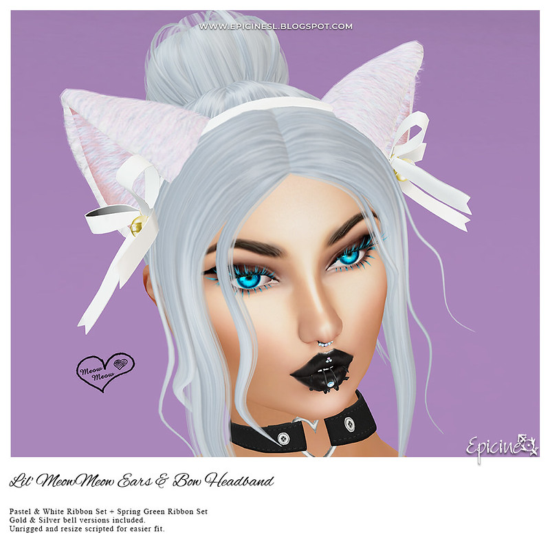 Epicine - Lil' MeowMeow Ears & Bow Headband - Pastel- WH&GR  Ad