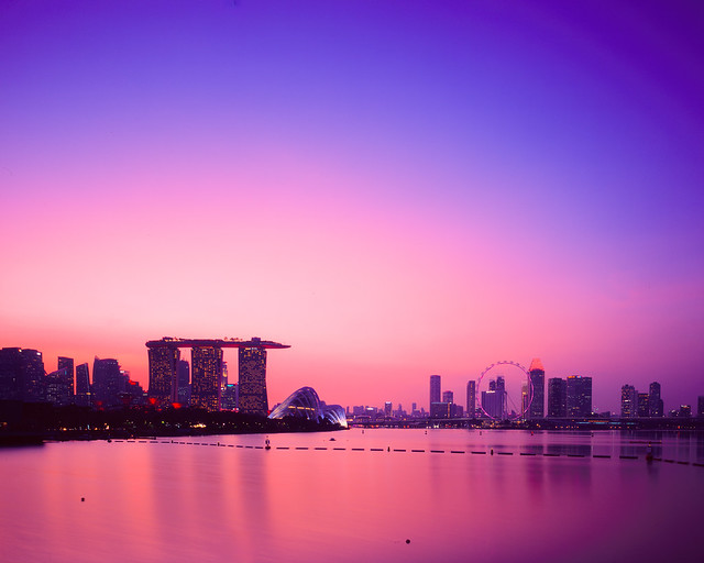 Singapore skylines after sunset