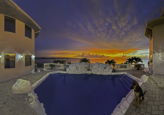 K2 Sits Poolside As Stunning Sunset Washes Over Apollo Beach Florida Home - IMRAN™ (My 101st Explore!)