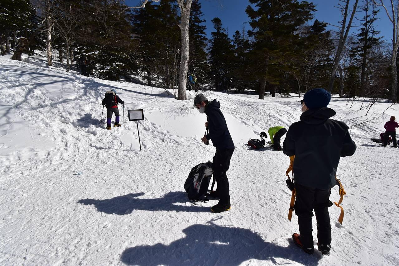 冬の西吾妻山・リフトを下りたところが登山口