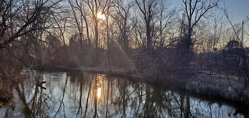 river sunset sun winter water park clintonriver utica michigan