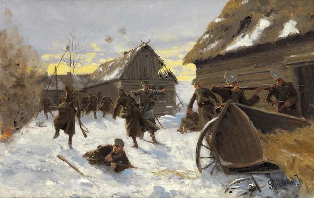 knötel, richard - Kriegsgefecht in einem verschneiten russischen Dorf