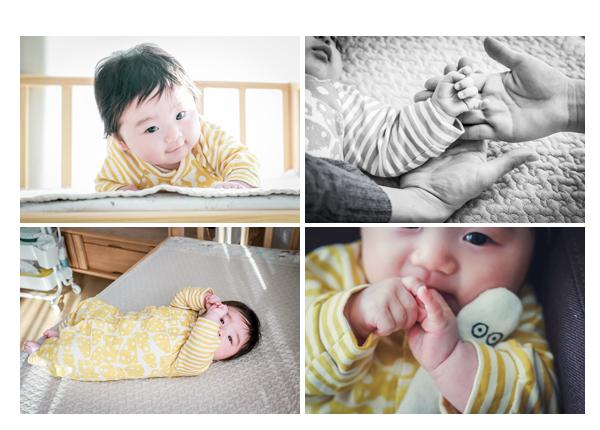 100日を迎えた赤ちゃん おうちでゴロン にょろにょろのぬぐるみを持って