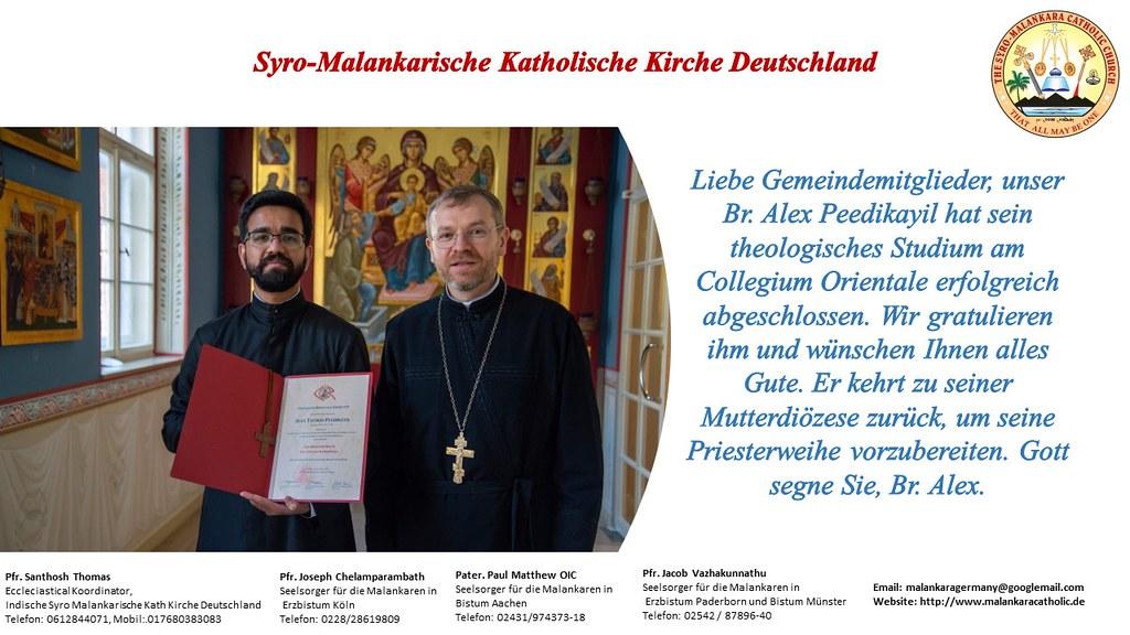 Br. Alex Peedikayil hat sein theologisches Studium am Collegium Orientale erfolgreich abgeschlossen