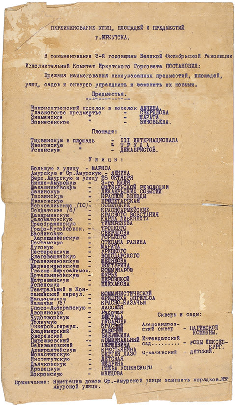 20. 1920. Указ. Переименование улиц, площадей и предместий г. Иркутска