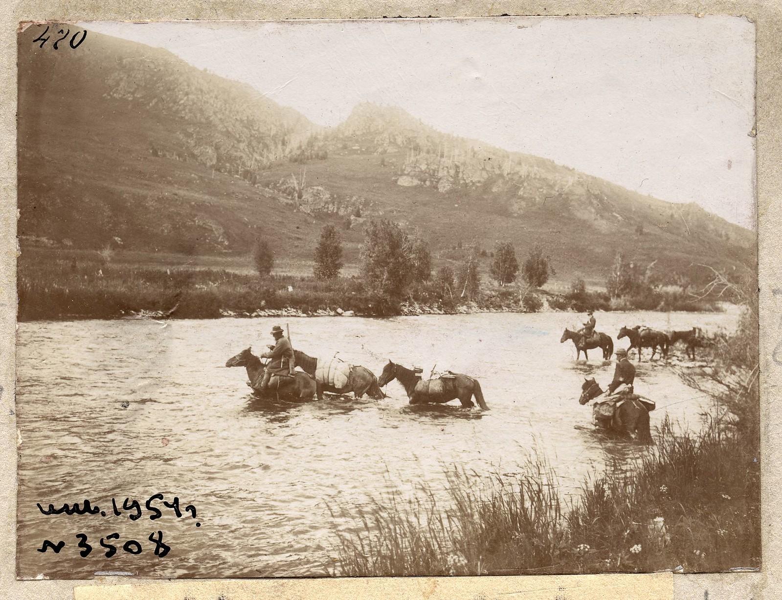 Переправа на лошадях через реку Собачью, в районе впадения в реку Катун