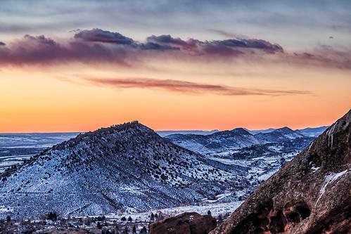 sunrise dawn daybreak landscape landscapes clouds mountains snow redrocks morrison colorado
