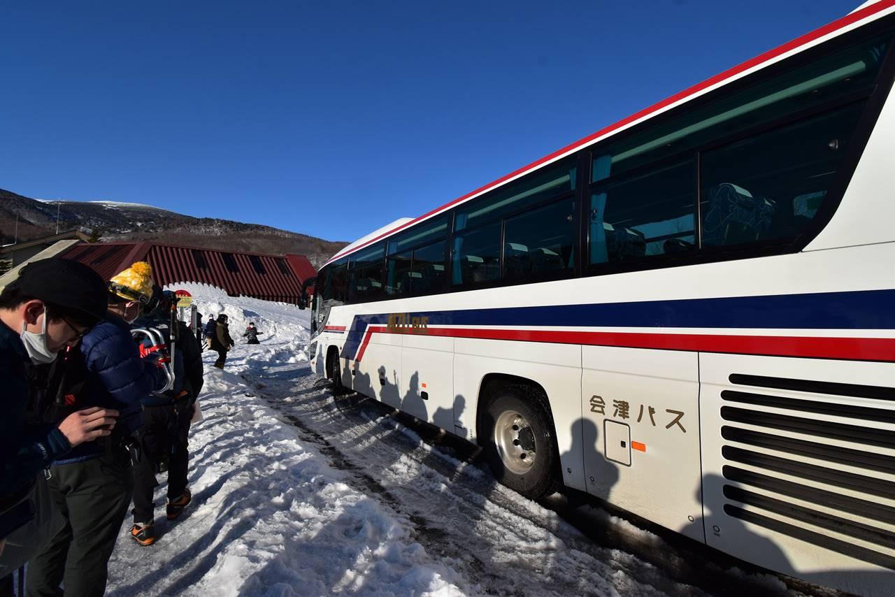 グランデコスキー場から猪苗代駅行きのシャトルバス