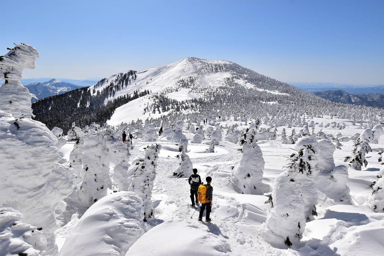 冬の西大巓~西吾妻山 グランデコスキー場から登る樹氷登山