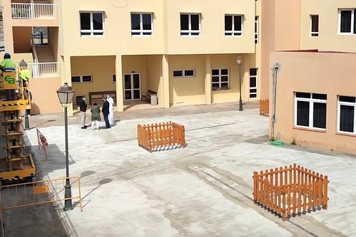 Vista del nuevo espacio acondicionado al aire libre en la Residencia de Mayores de Agüimes