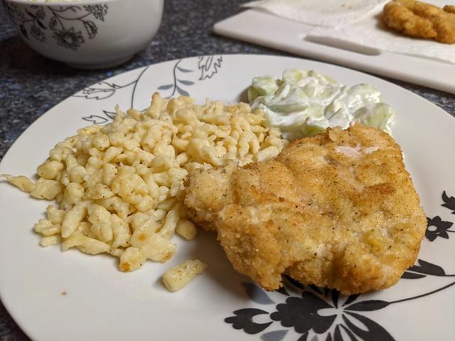 Vienna dinner - chicken schnitzel, spatztle and cucumber salad