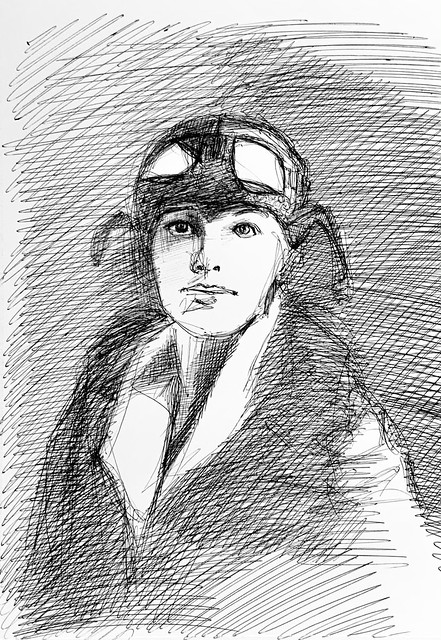 Portrait of Amelia Mary Earhart. 1897-1937. Aviation Pioneer. Ballpoint pen drawing by jmsw on white card.