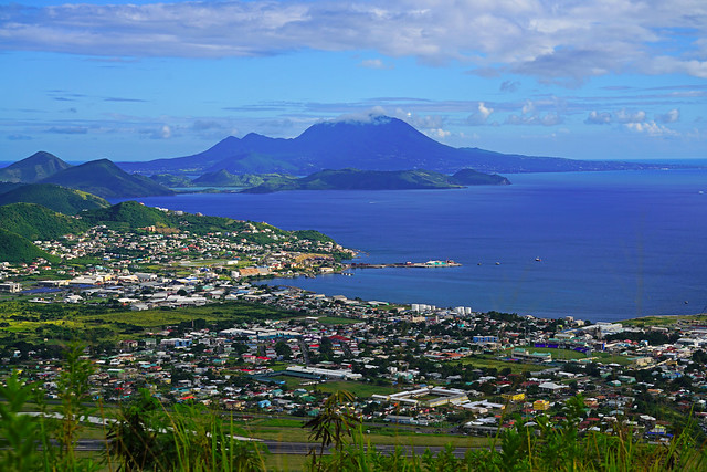 Perfect view of Nevis from Monkey Hill, St Kitts