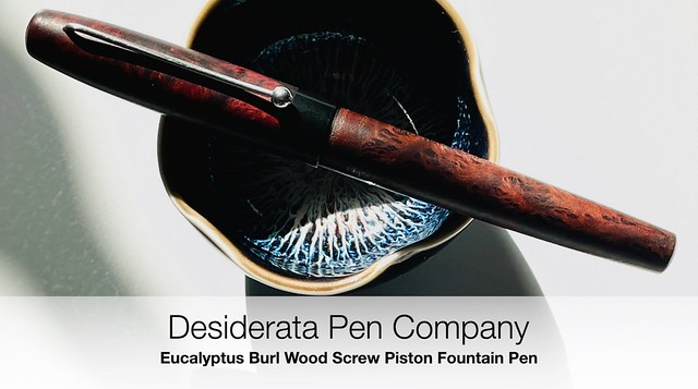 Desiderata Pen Company Eucalyptus Burl Wood Screw Piston Fountain Pen