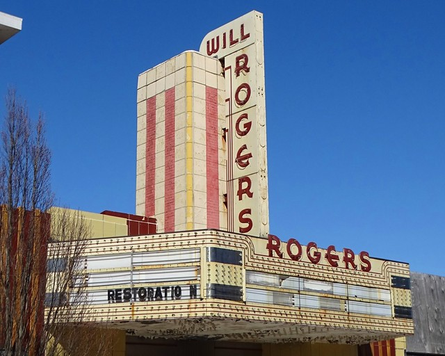 IL, Charleston-Will Rogers Theater Marquee & Neon Sign