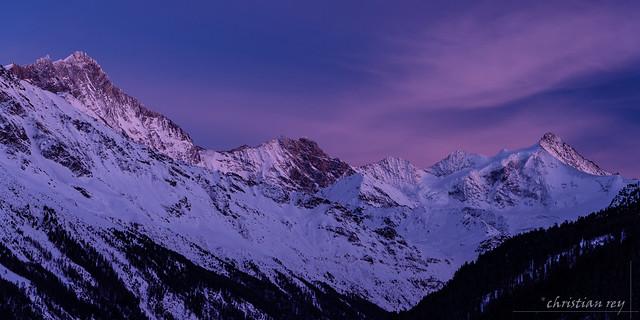 Début de soirée sur les 4000 du Val d'Anniviers (Switzerland)