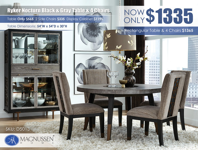 Ryker Nocturn Black & Gray Round Table & 4 Chairs_D5013_Update
