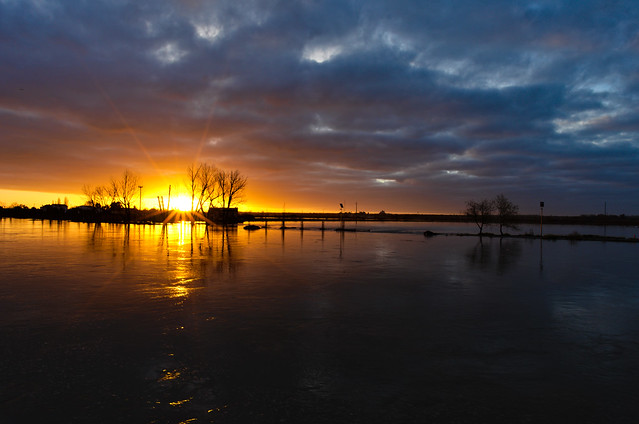 Flooding, in Sorraia river, at sunrise