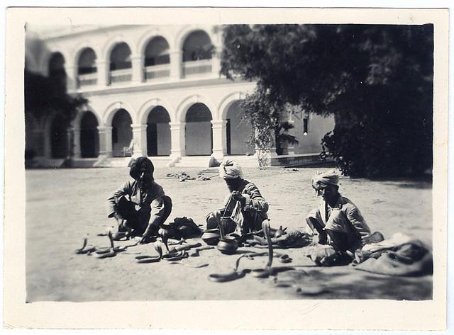 Snake charmers in Varanasi (1930)
