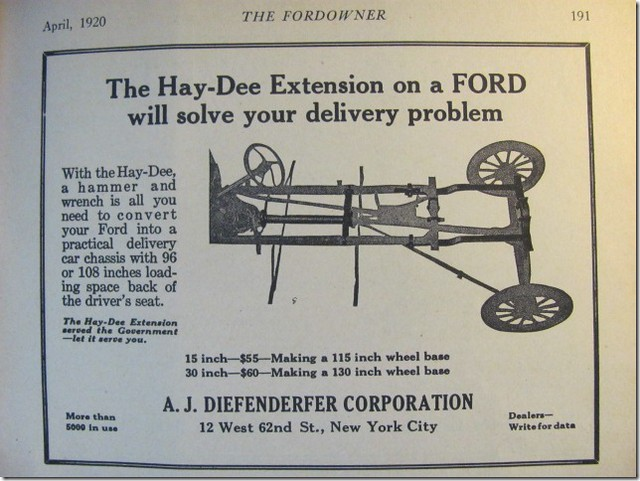 Hay-Dee extension 1920 advert and experimental fitting on M1917 Ambulance