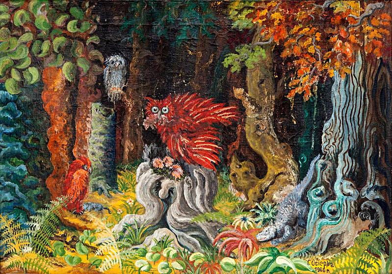 Teofil Ociepka - Fantasy Forest with Owl, 1966