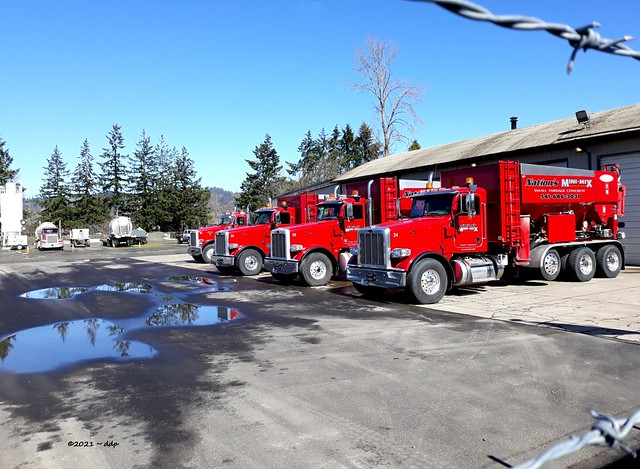Four Beautiful Bright Red Trucks ~ Tiny Amount of Barbed Wire
