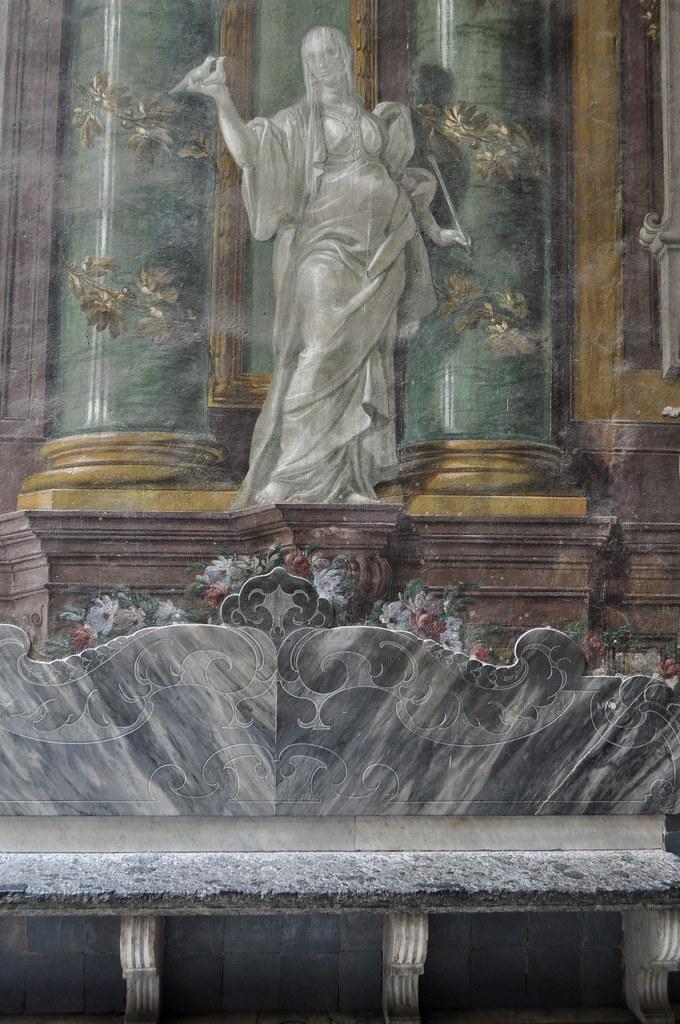 Trompe-l'oeil, 1762, Nicola Antonio Alfami, entrée du monastère San Gregorio Armeno, Naples, Campanie, Italie.
