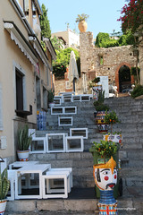 Cafe tables & Stools on the steps - Taormina Sicily