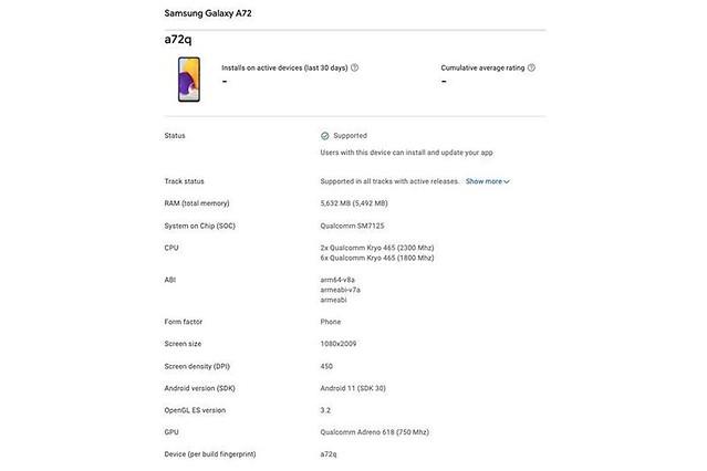 三星新中階 Galaxy A72 完整規格曝光!搭載 4 主鏡頭