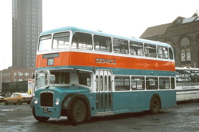 Cedric . Wivenhoe , Essex . 80TVX . Bayliss Road Coach Park , Waterloo , London . Around 1980 .