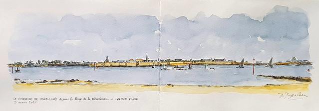 La Citadelle de Port-Louis depuis la Plage de la Nourriguel à Larmor-Plage-